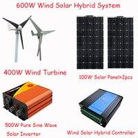 600 Вт свободной энергии солнечной домашней системы солнечной панели 200 Вт 400 Вт ветровой турбины 500 Вт инвертор/600 Вт гибридный контроллер зар