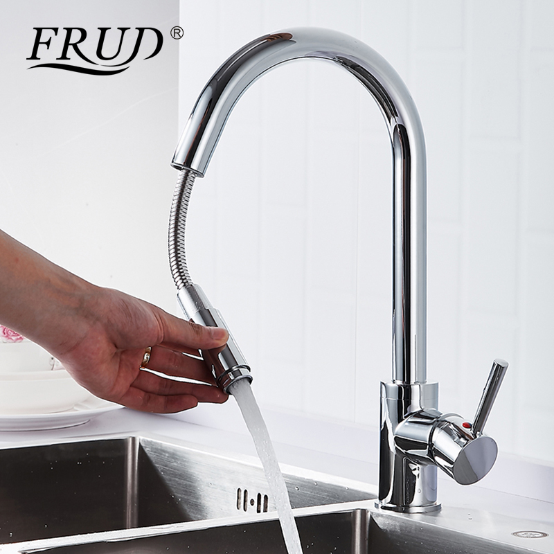 Frud Newly Smooth Kitchen Faucet Pull out Sprayer Spout Single Handle Mixer Tap Sink Faucet 360 Rotation Kitchen Faucets Y40070Frud Newly Smooth Kitchen Faucet Pull out Sprayer Spout Single Handle Mixer Tap Sink Faucet 360 Rotation Kitchen Faucets Y40070