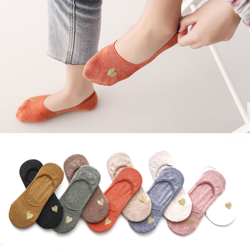 Socks Woman 2019 Summer New Fashion Summer Women Socks Cute Heart Short Cotton High Quality Women's Boat Sock Slippers For Women