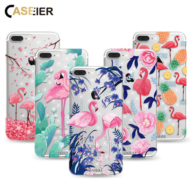 competitive price 31d61 b9791 US $3.99 20% OFF|CASEIER For iPhone 8 7 6 6S Plus Case Glitter Silicone  Flamingo Cover For iPhone 8 7 6 Plus 5 5S Capa Luxury Diamond TPU Shells-in  ...