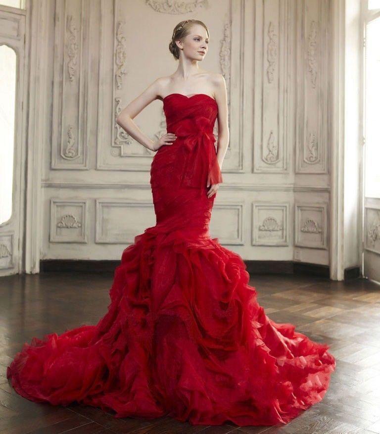 Red Mermaid Wedding Dress Fashion Dresses