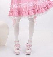 Принцесса Сладкая Лолита Чулки японская Горничная Косплей Кружева выше колена Лук колено высокие чулки розовые кружева бедра хлопок CTW5-1