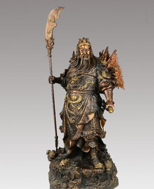 24 ''chine Bronze Guangong tenir épée Dragon Statue 0713 B0403