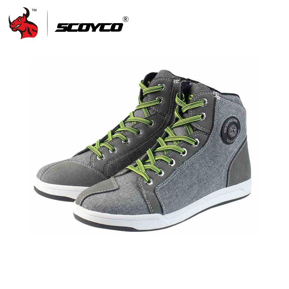 Scoyco мотогонок сапоги мужские улица свободного покроя обувь Бато Мотокросс ботинки Воздухопроницаемый Мото Защитное снаряжение Лен микрофибра