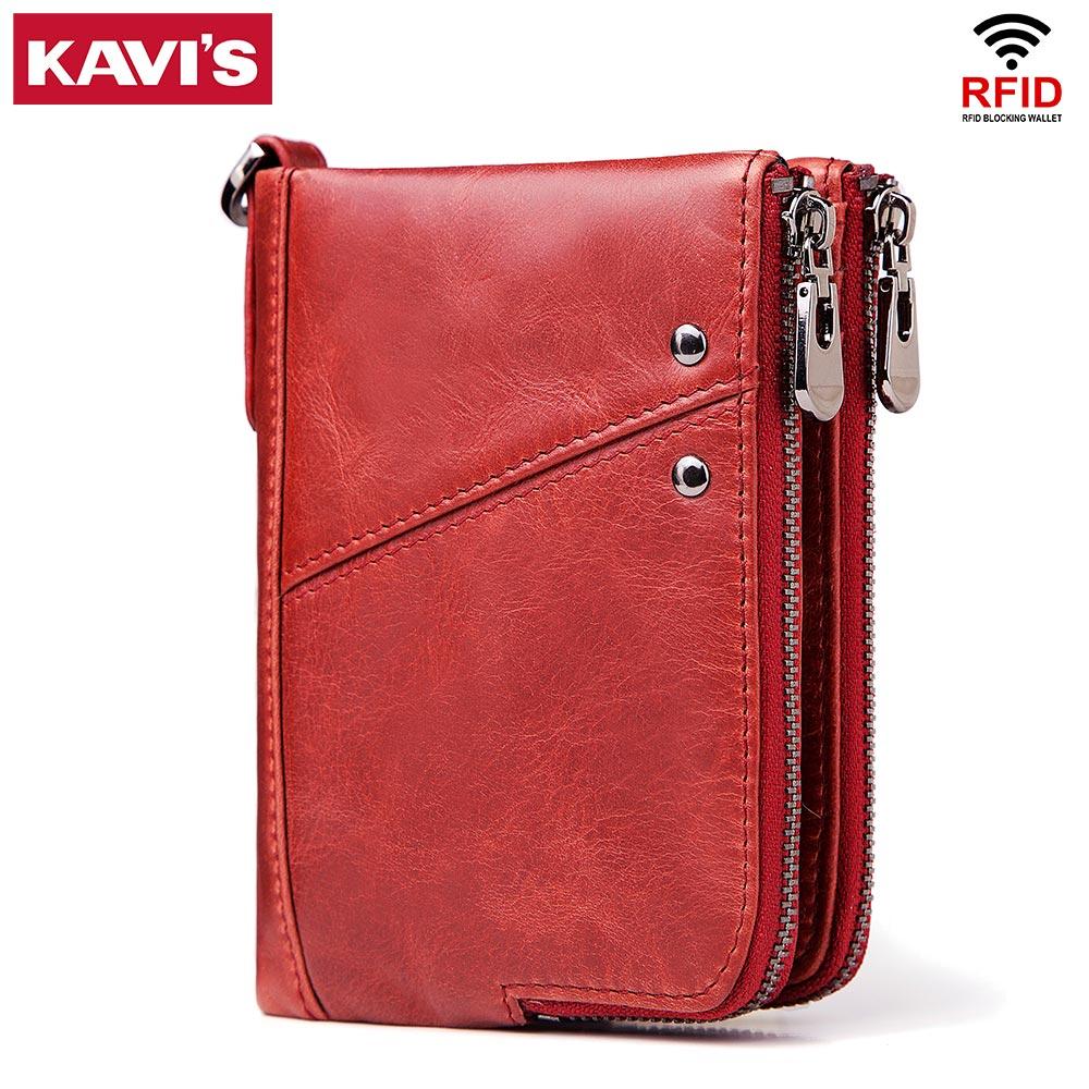 KAVIS Genuine Leather Women Wallet Female Red Rfid Coin Purse Small Walet Portomonee PORTFOLIO Money Bag Lady Mini Card Holder