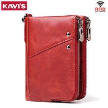 KAVISของแท้หนังผู้หญิงกระเป๋าสตางค์หญิงสีแดงRFIDกระเป๋าสตางค์ขนาดเล็กWalet Portomonee PORTFOLIO Money Lady MINI Card Holder