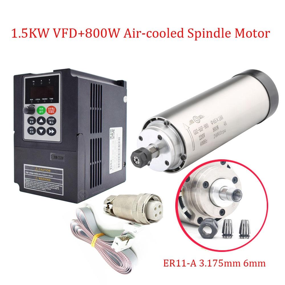 CNC Spindle Kit 0 8KW 220V 5A 65 188mm 0 33NM 400HZ High Speed Spindle Motor
