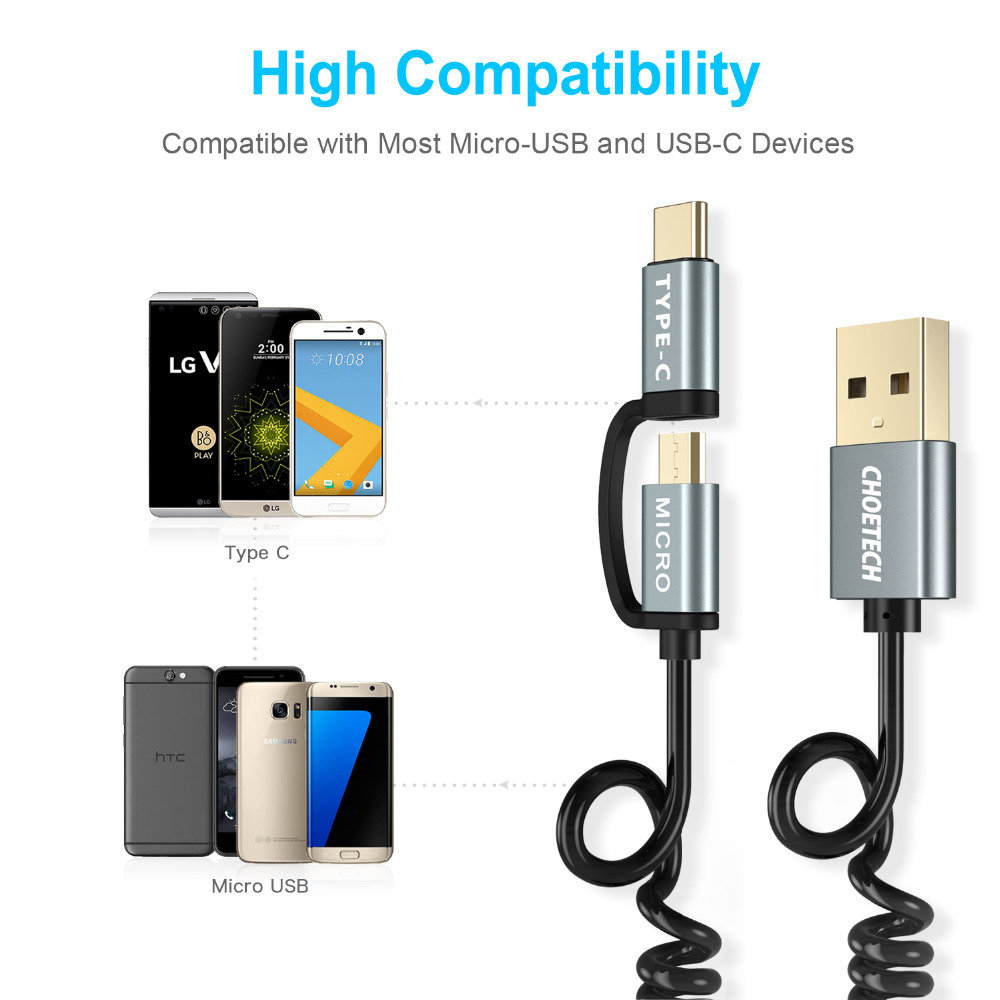 CHOETECH Fast Charging Cables 2 in 1 Micro USB Cable+USB Type C Cable for Samsung for Xiaomi for Nokia N1 Mobile Phone Cables