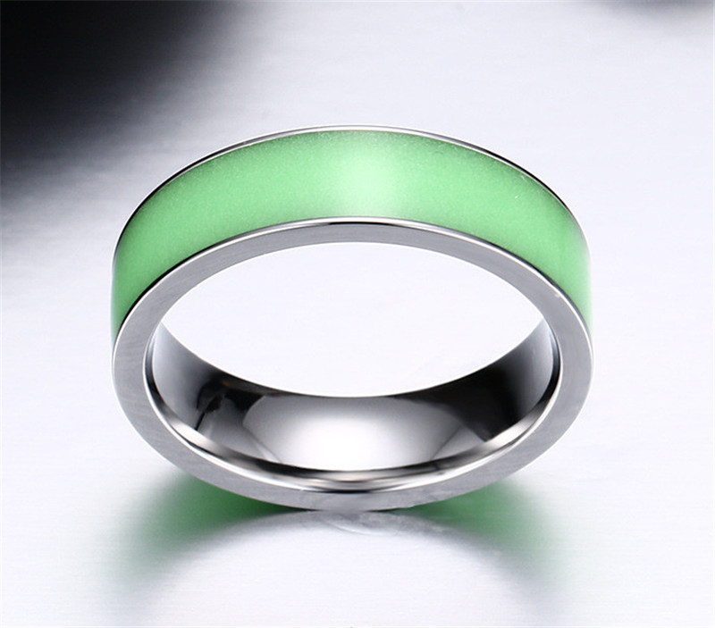 green glow in the dark couples rings for women titanium steel wedding jade ring anel engagement - Jade Wedding Ring