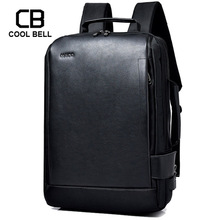 Купить с кэшбэком Waterproof Leather Fabric Men Backpack Business 15.6 Inch Backpack Laptop Men USB Charging New School Travel bags Mochila Male