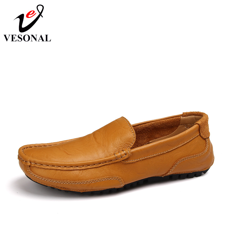 VESONAL Breathable Light Men Moccasins Loafers Shoes Male Genuine Leather Spring Summer Driving Soft Flats Footwear Slip On Boat new arrival high genuine leather comfortable casual shoes men cow suede loafers shoes soft breathable men flats driving shoes