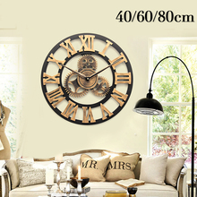 40/60/80cm Retro Vintage Handmade Wall Clock Luxury European 3D Decorative Large Gear Wooden Wall Clock Home Decoration Gift