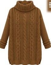 De mujer ropa de invierno  medio-largo hizo punto la camisa básica engrosamiento