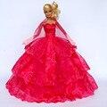Платье + перчатка + поводок / вечерние ну вечеринку роза свадьба платье цветок листья вышивка кружево наряд одежда для невесты Barbie кукла