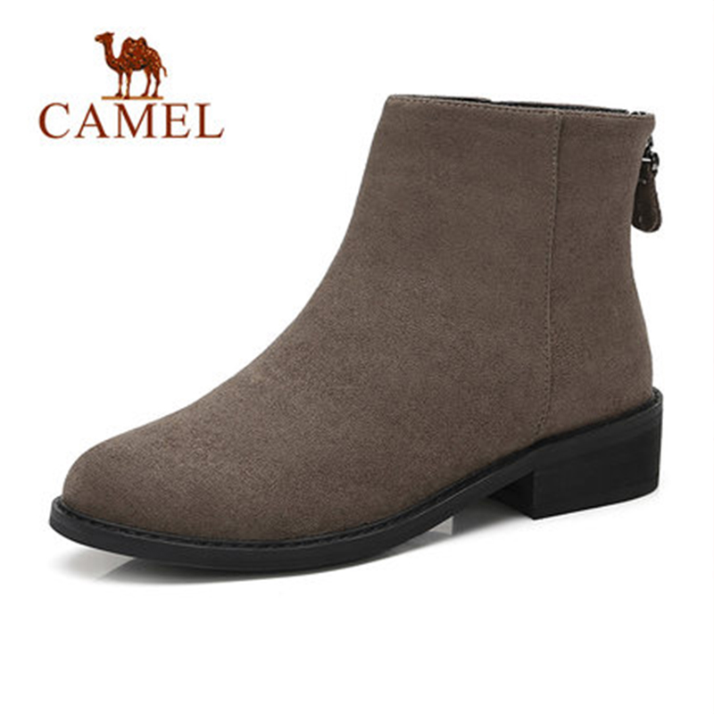 CAMEL Sample Short Boots Women 2018 Winter Sample Style Solid Color Boots Shoes Flat Heel Non