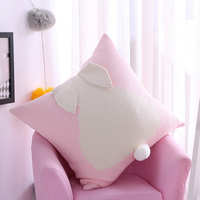 Cute Rabbit Cushion Covers Soft Cotton Cushion Cover For Seat Decorative Pillow Case Cover Bed Sofa