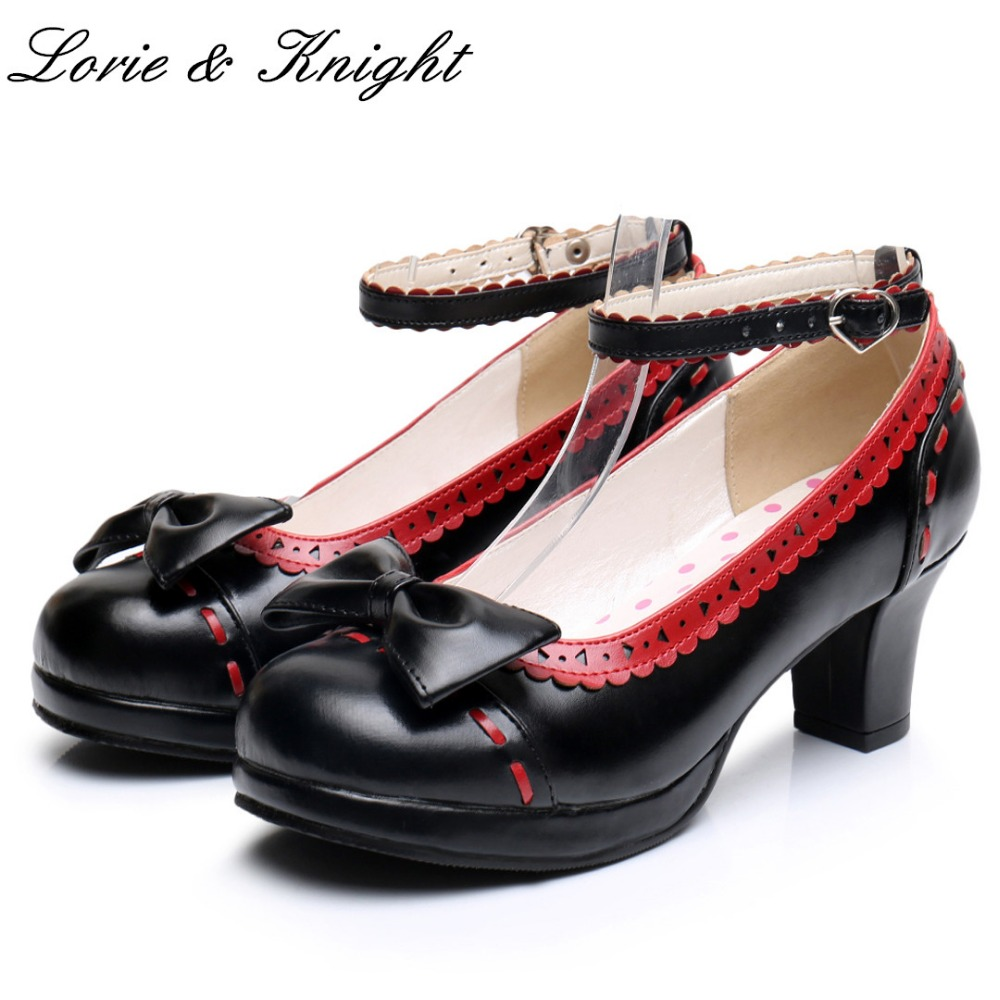 Japanese Sweet Princess Mary Jane Shoes Girls Lolita Cosplay Cute Bow PU Leather High Heel Shoes