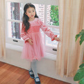 girl autumn spring dress kids o-neck long sleeve pink lace dresses toddler casual clothes children clothing 2016 costume 4-10T