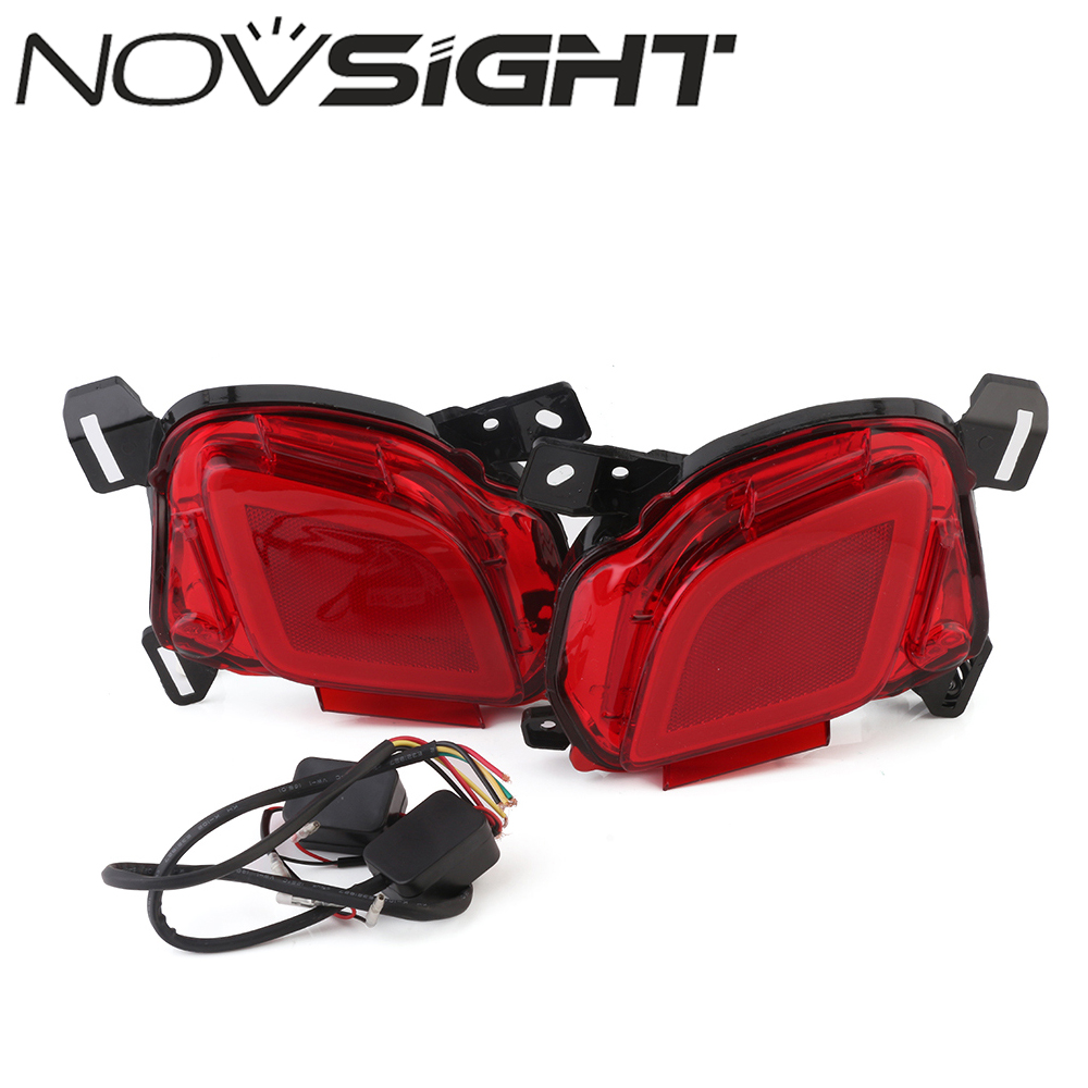 NOVSIGHT  Auto Car LED Rear Bumper Warning Light Break Lamp For Toyota Highlander 2015-2017 Red Tail Light Free Shipping dongzhen fit for nissan bluebird sylphy almera led red rear bumper reflectors light night running brake warning lights lamp