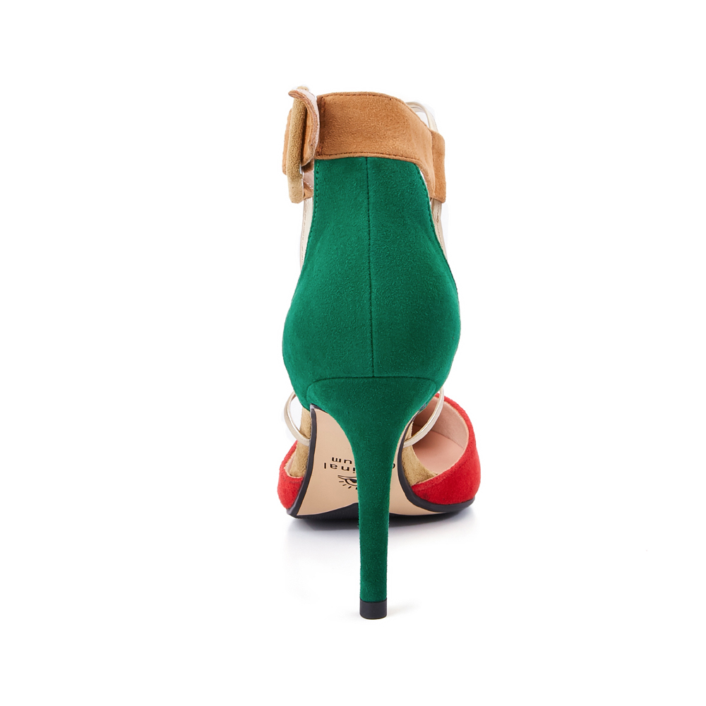 multi La Dames Chaussures Noir Bout Talons Cdpundari D'été Cheville Hauts Femmes Pompes Sexy rouge Femme Pointu À Bride OPOwZaIq