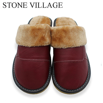 2020 Genuine Leather Slippers Home Slippers  High Quality Women Men Slippers Plush Warm Indoor  Shoes Men  Women Size 35-44 1