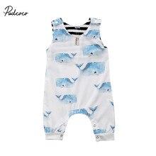0f2437604 Pudcoco bebé recién nacido niños bebés ballena animal print Romper algodón  sin mangas del verano del mono Rompers ropa