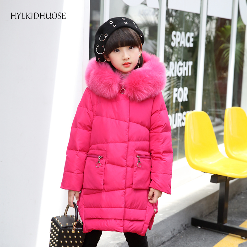 HYLKIDHUOSE 2017 Winter Baby Girls Down Coats Children Thick Warm Jackets Kids Outdoor Windproof Outerwear Long Style Parkas high quality children winter outerwear 2017 baby girls down coats jacket long style warm thickening kids outdoor snow proof coat