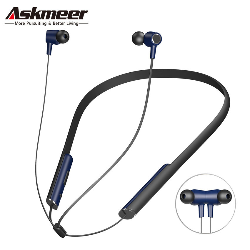 ASKMEER Magnetic Wireless Earphone IPX5 Waterproof Bluetooth Earbuds Headset with Microphone Handsfree Calls for iPhone Xiaomi