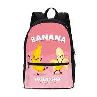 Canvas Backpacks For Boys Girls Funny Cartoon Banana Letter 3D Printing School Bag Teenage Kids Bookbag Rugzak Mochila Escolar