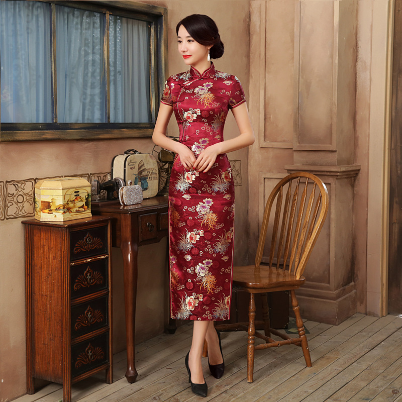 Chinese National Long Cheongsam Vintage Slim Floral Female Handmade Button Women Dress Qipao