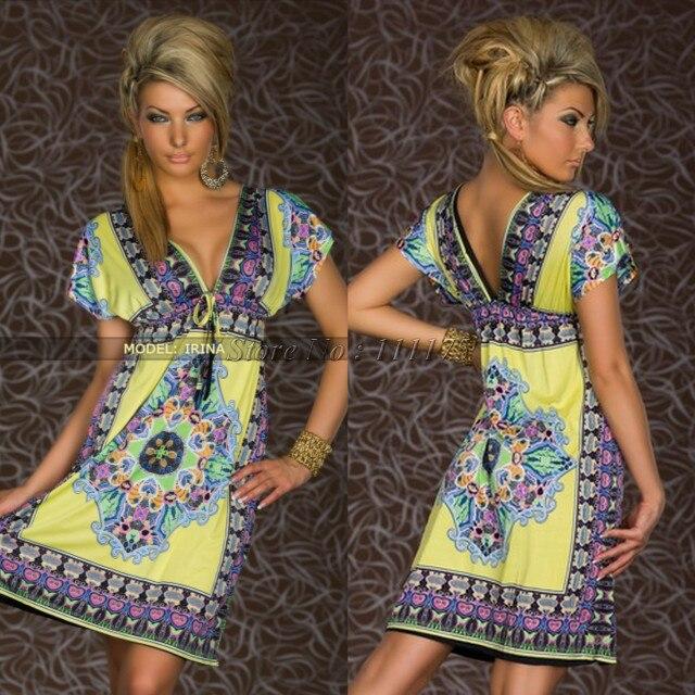 Платье с глубоким v-образным вырезом в стиле Дашики, сексуальное летнее ретро платье, винтажное пляжное платье в стиле хиппи с принтом пейсли, отправка в ближайшее время - Цвет: Цвет: желтый