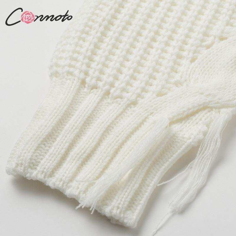 Conmoto Solid Deep Gray Casual Women Sweaters 19 Winter Turtleneck Knitwear Sweater Oversized Tassel Knitted Pullovers Jumpers 18