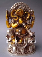 Free Shipping wang 00090 Tibet Gilt Silver Bronze Elephant Headed God Ganesh Statue