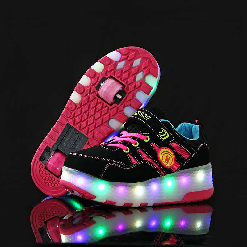 Kids LED Shoes Roller Skate Shoes Boys Girls Automatic Jazzy Flashing Heelies spord Kids Sneakers One/Two Wheels Glowing Shoes