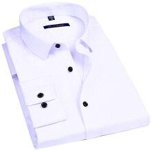 Male Social Formal Shirt Classic Solid Color Design Elastici