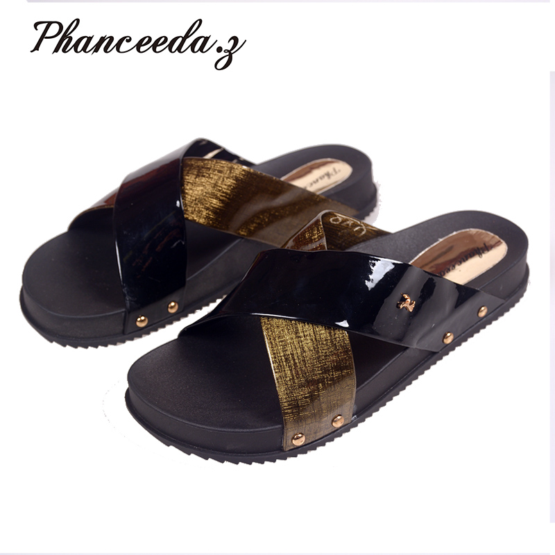 2018 Shoes Women Sandals Flip Flops Sexy Open Toe Slides Female Fashion Platform Comfortable Sandal Sweet Slippers Jelly Shoes new fashion big pearls beaded woman flat shoes 2017 sexy open toe sandal crystal embellished slides