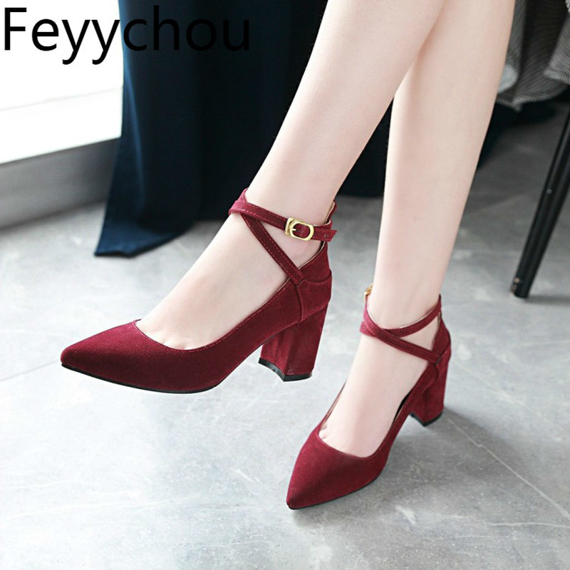 Women's Pumps Shoes High Heel Flock Buckle Pointed Toe 2018 Spring Autumn Sexy New Fashion Casual Wedding Party Black Green Red