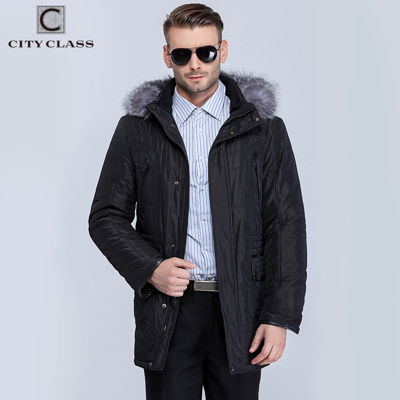 CITY CLASS New Thick Warm Winter Jacket Men Overcoat Fashion Casual Isosoft Removable Linning Silver Fox Hat Free Shipping 14363 warm winter fashion men hat
