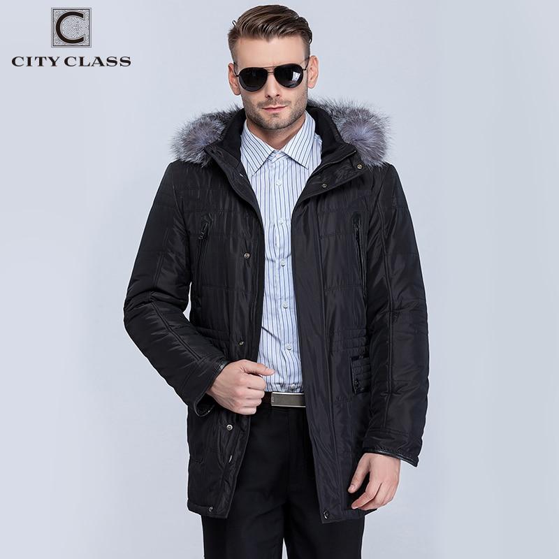 CITY CLASS Нові Товсті Теплі Зимові Куртки Чоловіки Пальто Мода Повсякденне Isosoft Знімний Linning Срібний Fox Hat Безкоштовна доставка 14363  t
