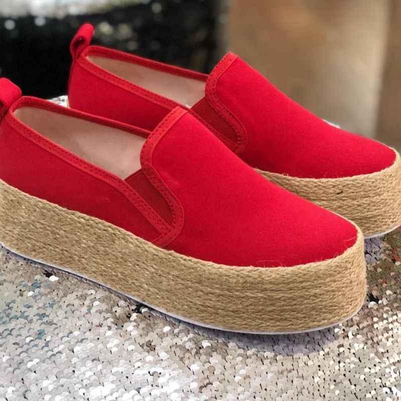 WENYUJH Mùa Xuân 2019 Đế Phẳng Giày Nền Tảng cho Chân Trên Căn Hộ Cho Nữ Mộc Mạch Trà Giày Casual Nữ Dây Leo