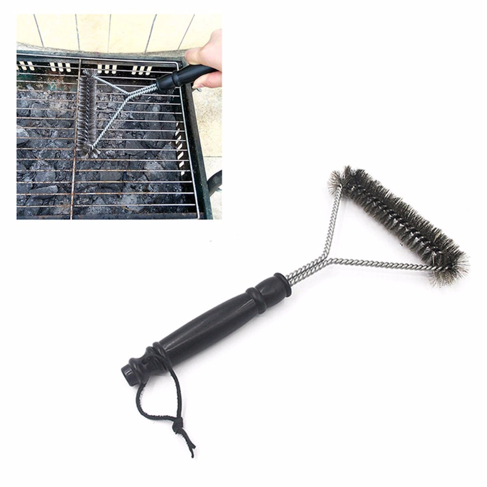 12 Inch Stainless Steel BBQ Cleaning Brush Rugged Durable Wire Bristles Barbecue Grill Brushes Cooking Outdoor BBQ Accessories
