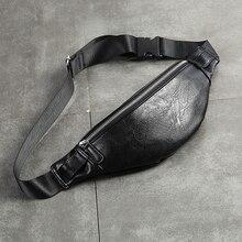 حقيبة خصر للرجال فاخرة من جلد البولي يوريثان حقيبة عصرية بحزام قابل للضبط حقيبة للرجال عالية الجودة كيس الموز