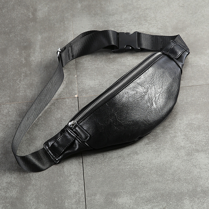 Luxury PU Leather Fanny Pack Men Waist Bag Fashion Adjustable Belt Bag Male Heuptas High Quality Bum Banana Bag Banana Sac