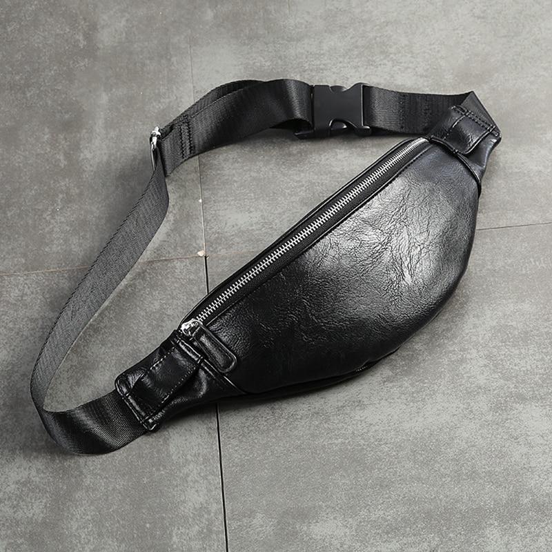 Luxury PU Leather Fanny Pack Men Waist Bag Fashion Adjustable Belt Bag Male Heuptas High Quality Bum Banana Bag Banana Sac