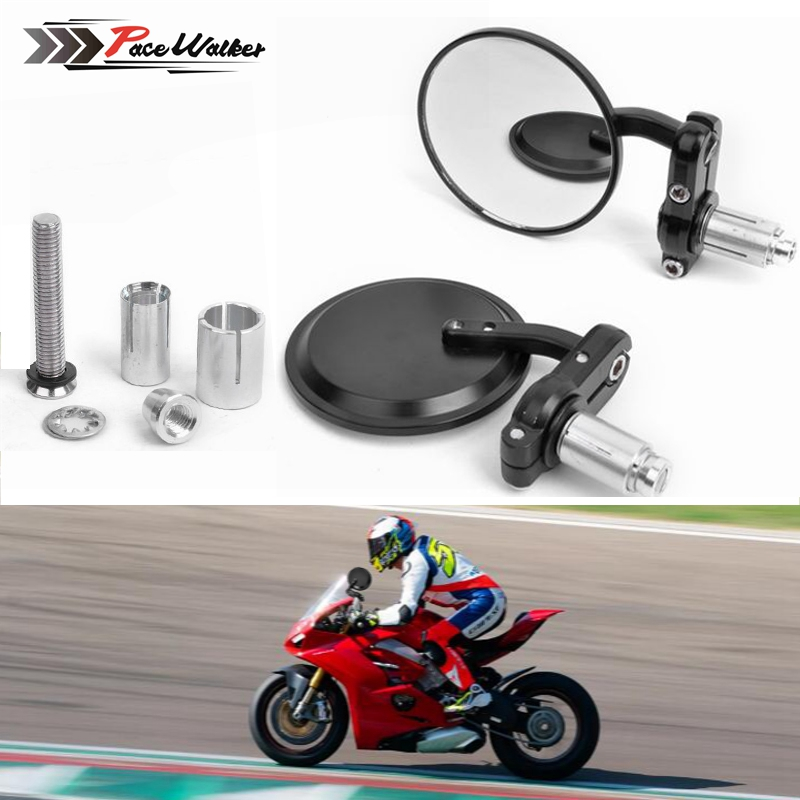"""New Universal Motorcycle 3/"""" Round 7//8/"""" Handle Bar End Rearview Side Mirrors"""