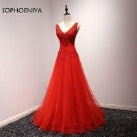 New Arrival abendkleider Red Long evening dress 2019 Beading Ever pretty Prom dresses A Line Evening gown vestido de festa