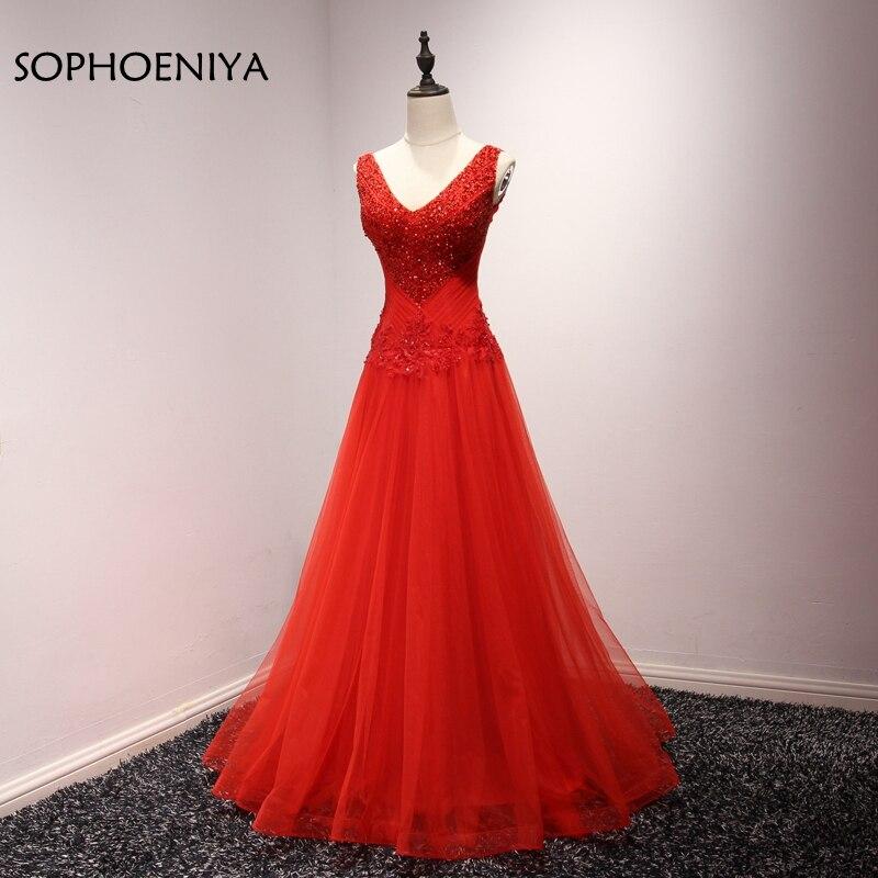 New Arrival abendkleider Red Long   evening     dress   2019 Beading Ever pretty Prom   dresses   A-Line   Evening   gown vestido de festa