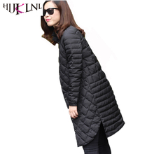 HIJKLNL Fashion Side Split Ultra Light Duck Down Jacket Women Winter Long Single Breasted Stand Collar Down Coat Parka NA225