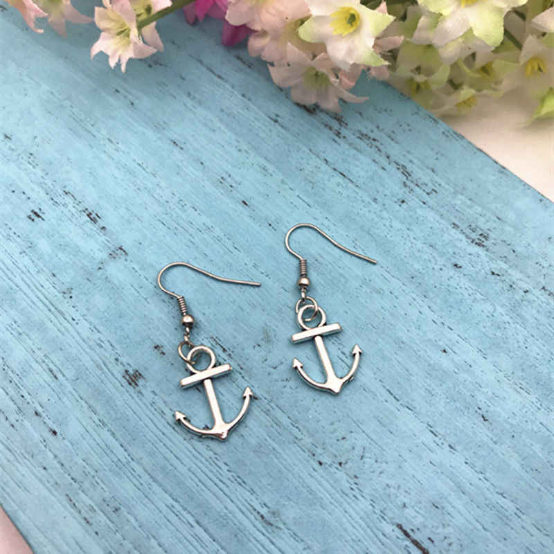 Hot Nautical Anchor Dangling Earrings Zinc Alloy Antique Silver DIY Fashion Women Girl Nautical Jewelry Valentine's Day Present