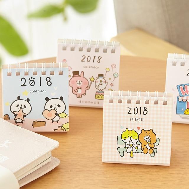 1 pcs 2018 lovely cute calendars little fresh cartoon animals series